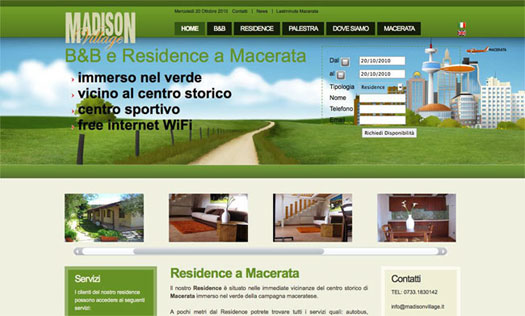 web marketing per hotel e residence, esempio sito web